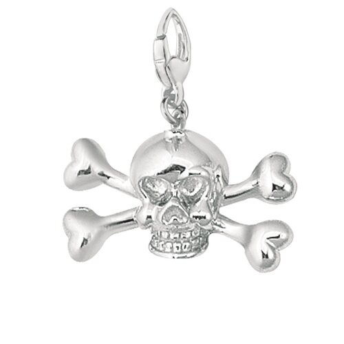 EZ Charms Sterling Silver Skull with Cross and Bones Charm