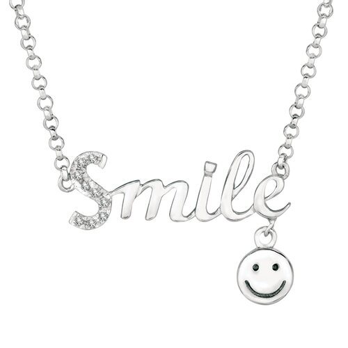 "EZ Charms Silver Diamond ""Smile"" with Smiley Face Necklace"