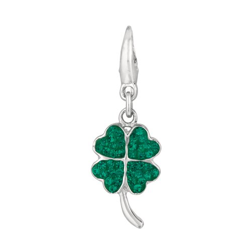 EZ Charms Crystal 4 Leaf Clover Charm with Swarovski Elements