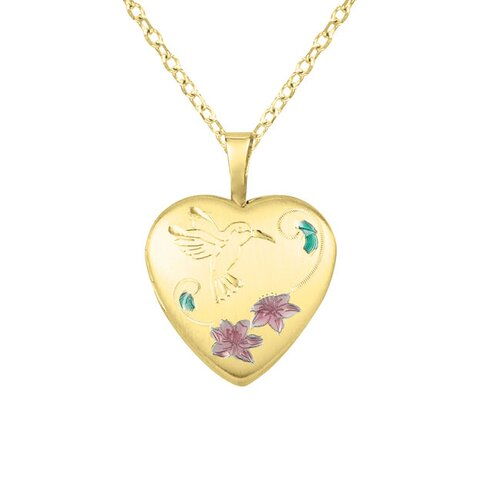 EZ Charms Flowers and Humming Bird Heart Necklace
