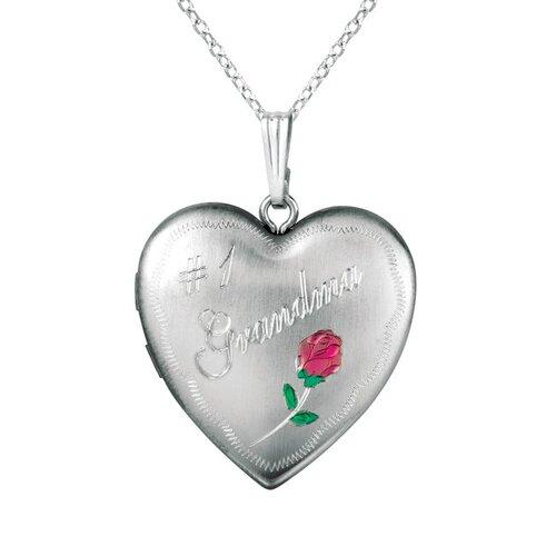 "EZ Charms Rose ""#1 Grandma"" Heart Locket Necklace"