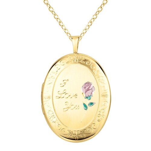 "EZ Charms ""I Love You"" Oval Locket Necklace"