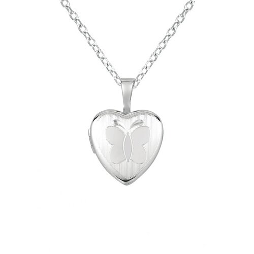 EZ Charms Butterfly Heart-Shaped Locket Necklace