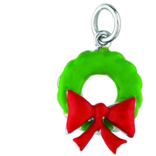 EZ Charms Sterling Silver Christmas Wreath Charm
