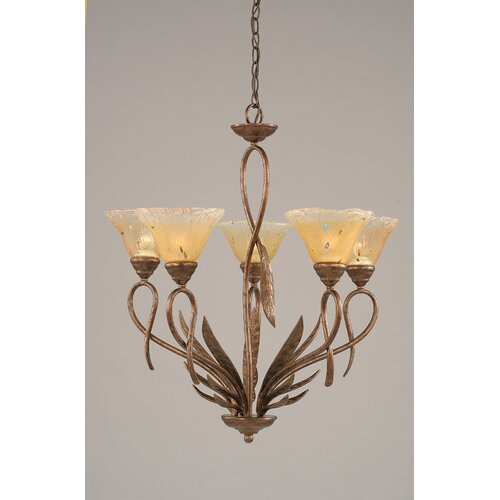 Leaf 5 Light Chandelier with Crystal Glass Shade