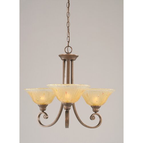 Toltec Lighting Curl 3 Up Light Chandelier with Crystal Glass Shade