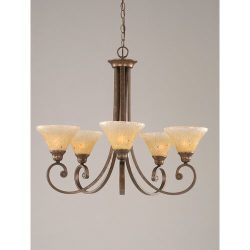 Curl 5 Light Up Chandelier with Crystal Glass Shade