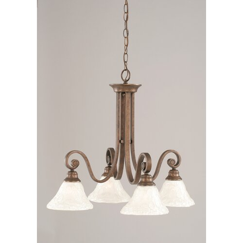 Toltec Lighting Curl 4 Light  Chandelier with Glass Shade