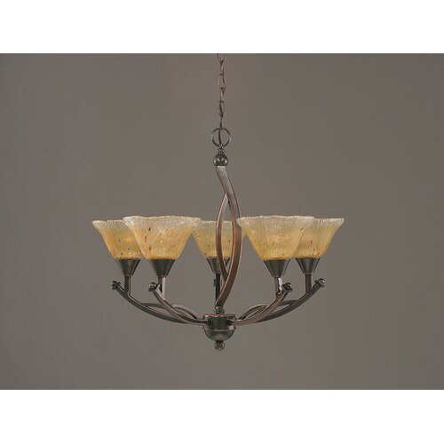Bow 5 Light Up Chandelier with Crystal Glass Shade