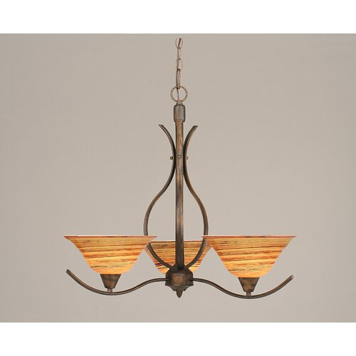 Swoop 3 Up Light Chandelier with Glass Shade