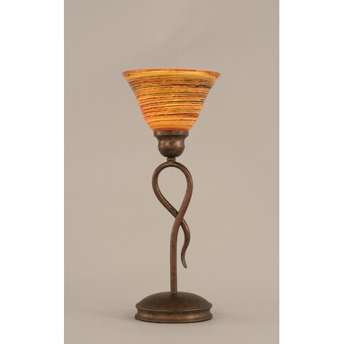 "Toltec Lighting Leaf 13.25"" H Mini Table Lamp with Firre Saturn Glass"