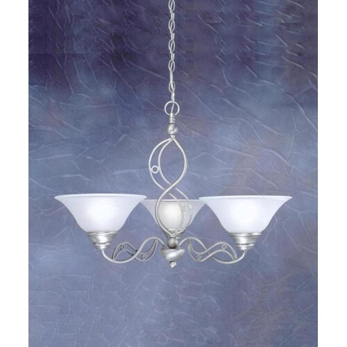 Jazz 3 Up Light Chandelier with Drop Glass Shade