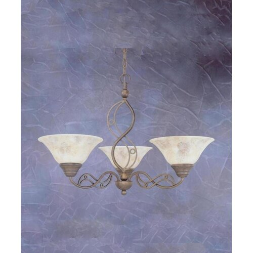 Toltec Lighting Jazz 3 Up Light Chandelier with Italian Marble Glass Shade