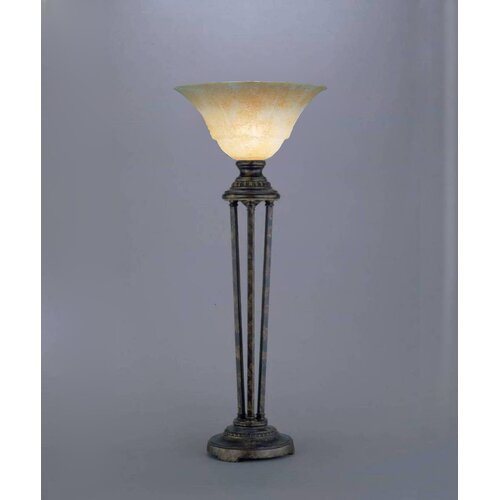"Toltec Lighting Marble 32"" H Table Lamp with Bell Shade"