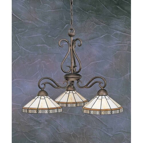 Toltec Lighting Olde Iron 3 Light  Chandelier with Mission Glass Shade