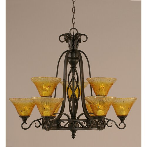 Toltec Lighting Eleganté 9 Light Up Chandelier with Crystal Glass