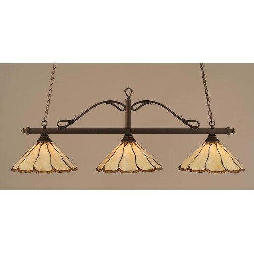3 Light Wrought Iron Rope Kitchen Island Pendant