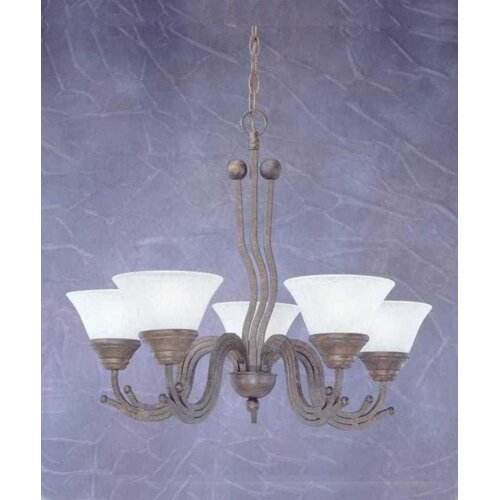 Wave 5 Light Chandelier with Marble Glass Shade