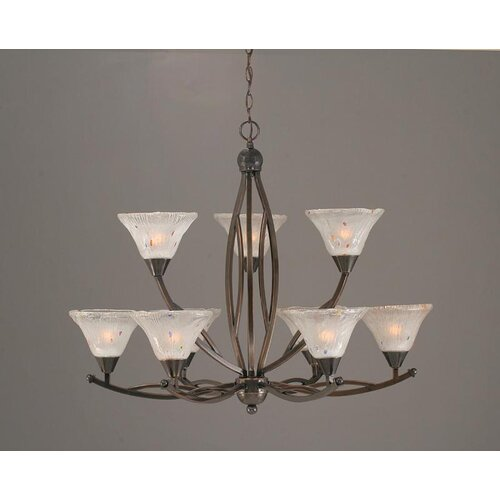 Toltec Lighting Bow 9 Up Light Chandelier with Crystal Glass Shade