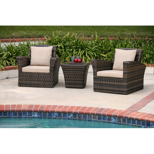 AIC Garden & Casual Maui 3 Piece Deep Seating Group with Cushions