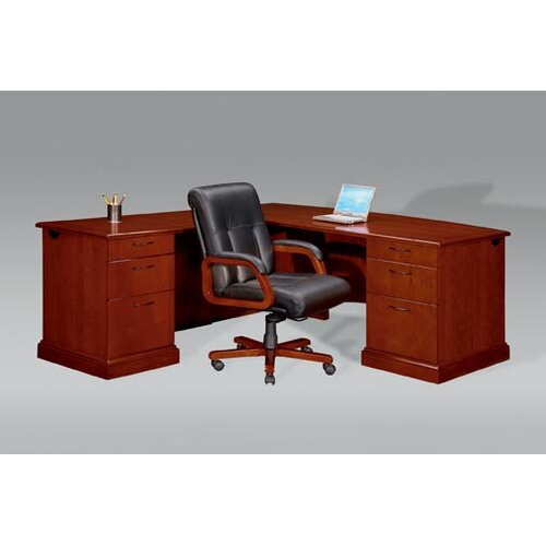 """DMI Office Furniture Belmont Right Executive """"L"""" Desk with 6 Drawers"""