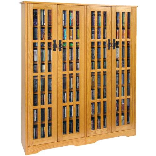 Leslie Dame Enterprises Glass Door Double Multimedia Cabinet