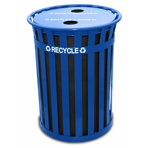 Witt Oakley Slatted Metal Recycling Receptacle