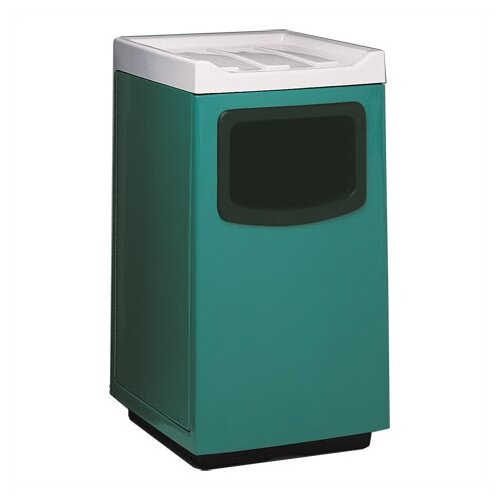 Witt Fiberglass Series 47 Gallon Square Food Court Receptacle with Doors on Trash Opening and Side