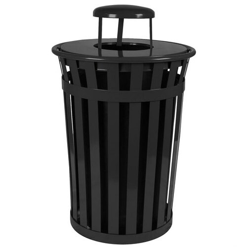 Witt Oakley Slatted Metal Waste Receptacle with Rain Cap
