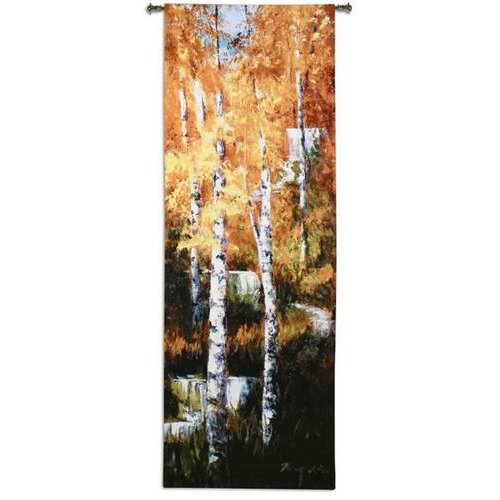 Fine Art Tapestries Autumn Birch Falls BW Tapestry
