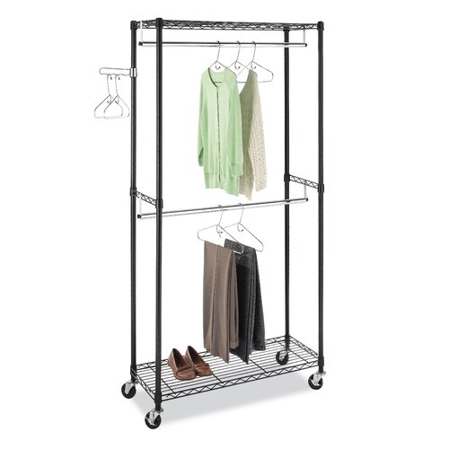 Whitmor Inc Supreme Double Rod Rolling Garment Rack In