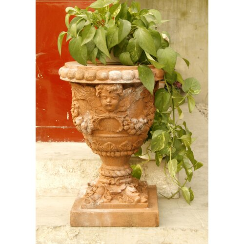 OrlandiStatuary Robbia Angel Round Planter