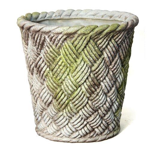OrlandiStatuary Small Nied Weave Basket Round Planter
