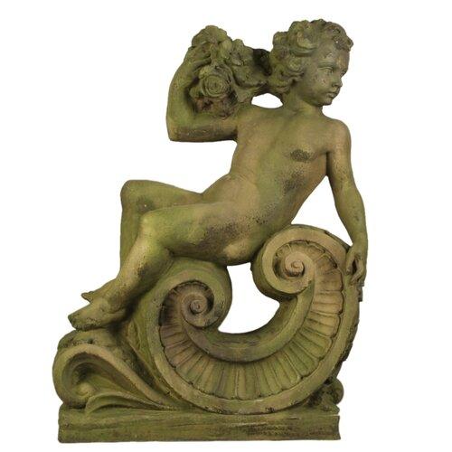 OrlandiStatuary Summer Angel on Scroll Statue