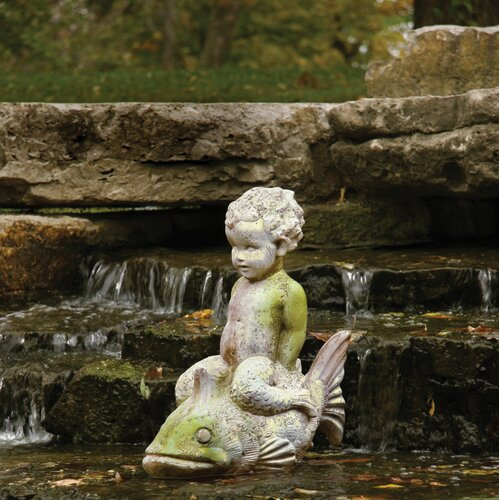 OrlandiStatuary Animals Boy on Fish Garden Statue