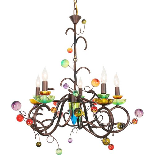 Brazilian Nights Copa Cabana 5 Light Chandelier