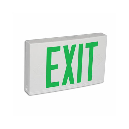 Barron Lighting Contractor Grade Thermo Plastic Green LED Exit Sign