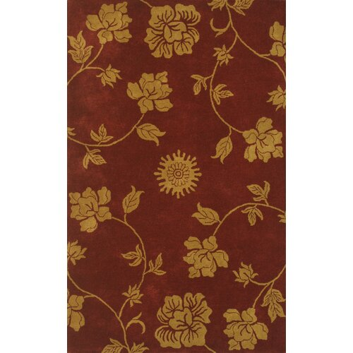 Noble House Floral Burgundy/Gold Rug