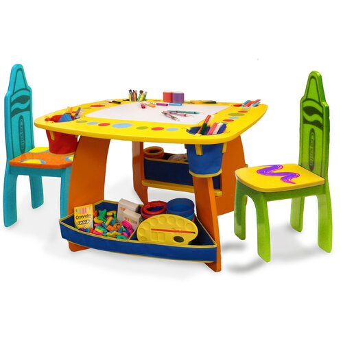 Grow 'n Up Crayola Wooden Kids' 3 Piece Table and Chair Set