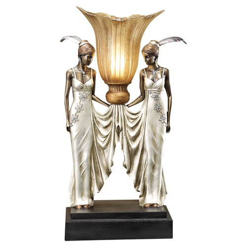 Art Deco Peacock Maidens Illuminated Statue