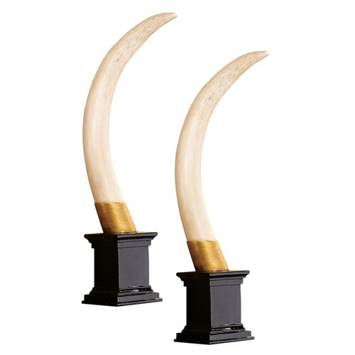 British Colonial Elephant Tusk Trophy Sculpture (Set of 2)