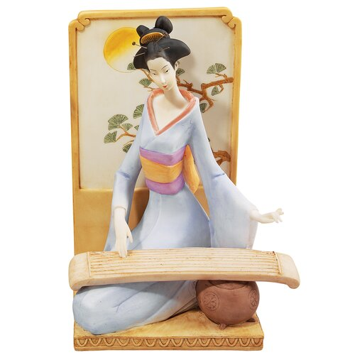 Japanese Geisha Musical Court with Koto Figurine