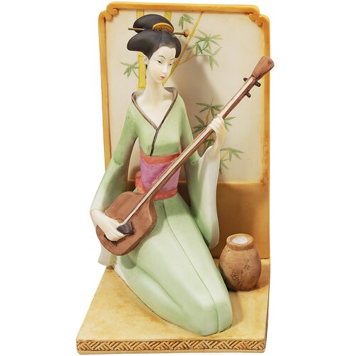 Japanese Geisha Musical Court Figurine