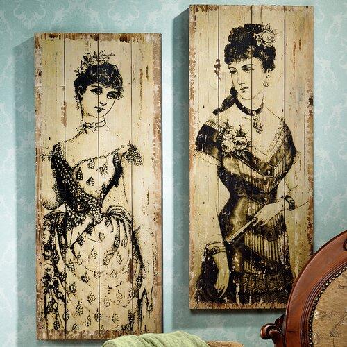 La Mode Illustree Victorian Fashion 2 Piece Graphic Art Plaque Set