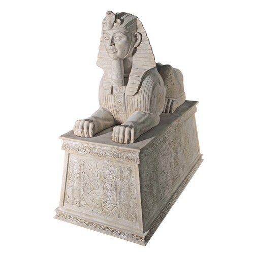 Grand Stone Sphinx Statue Atop a Egyptian Plinth Statue