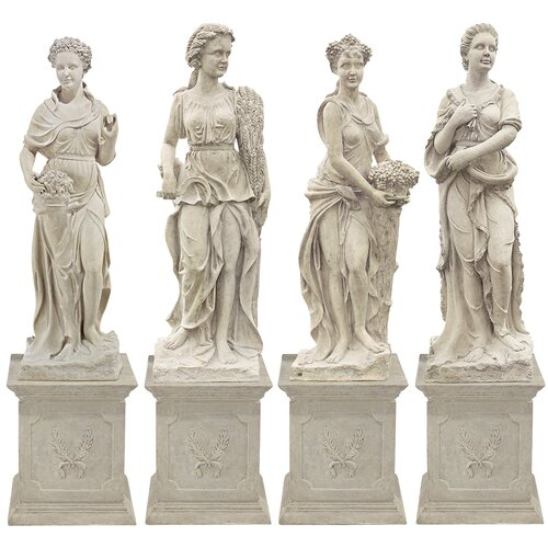 Goddesses of the Four Seasons Spring Statue with Plinth (Set of 4)