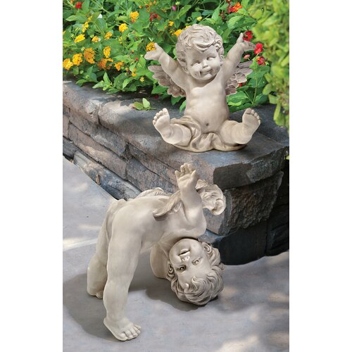 2 Piece Topsy and Turvey Tumbling Cherub Statue Set