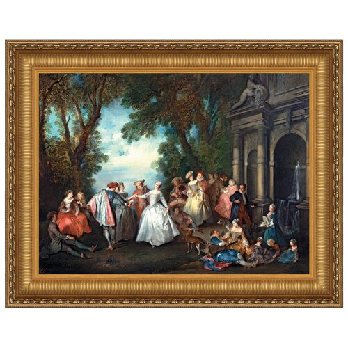 Dance Before a Fountain, 1724 Framed Original Painting