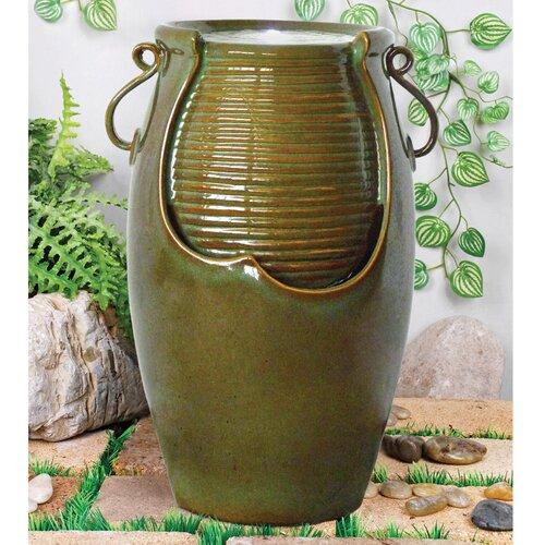 Ceramic Rippling Jar Garden Fountain