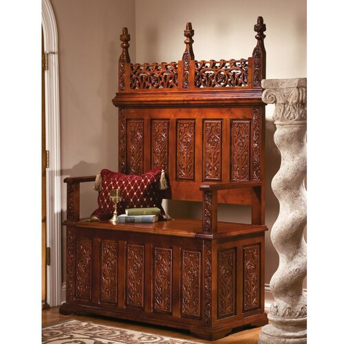 Design Toscano York Monastery Hardwood Entryway Storage Bench